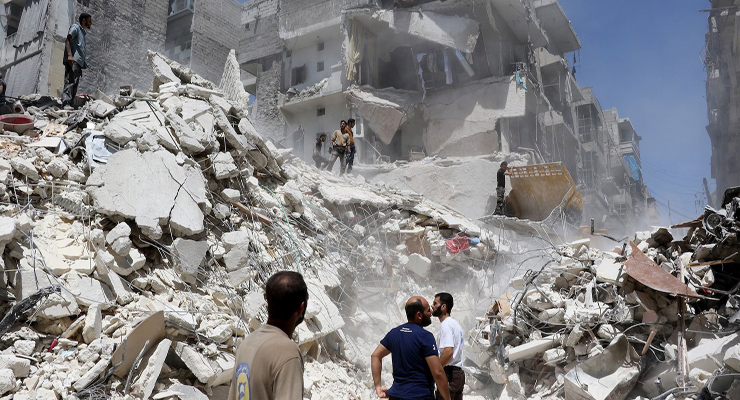 The destruction left by the bombing of the aircraft for civilian neighborhoods in the Syrian cities